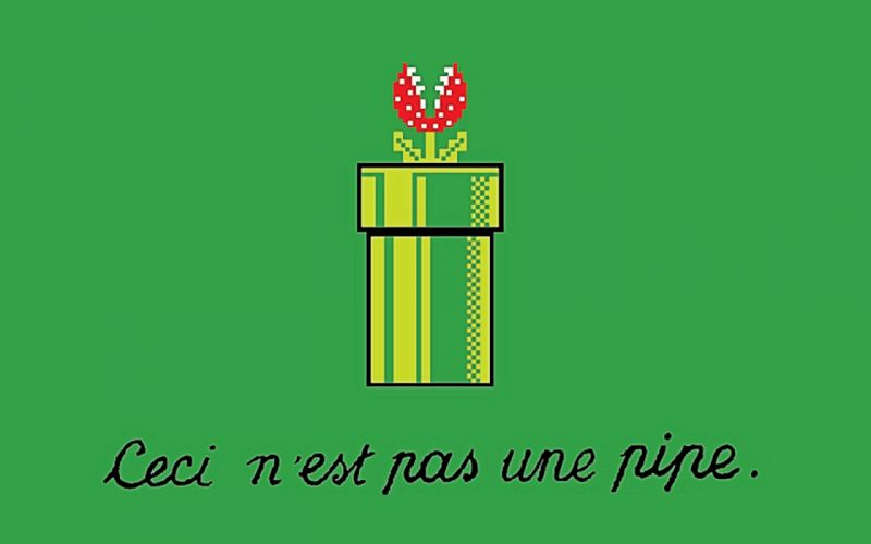 video games Super Mario parody Rene Magritte The Treachery of Images wallpaper