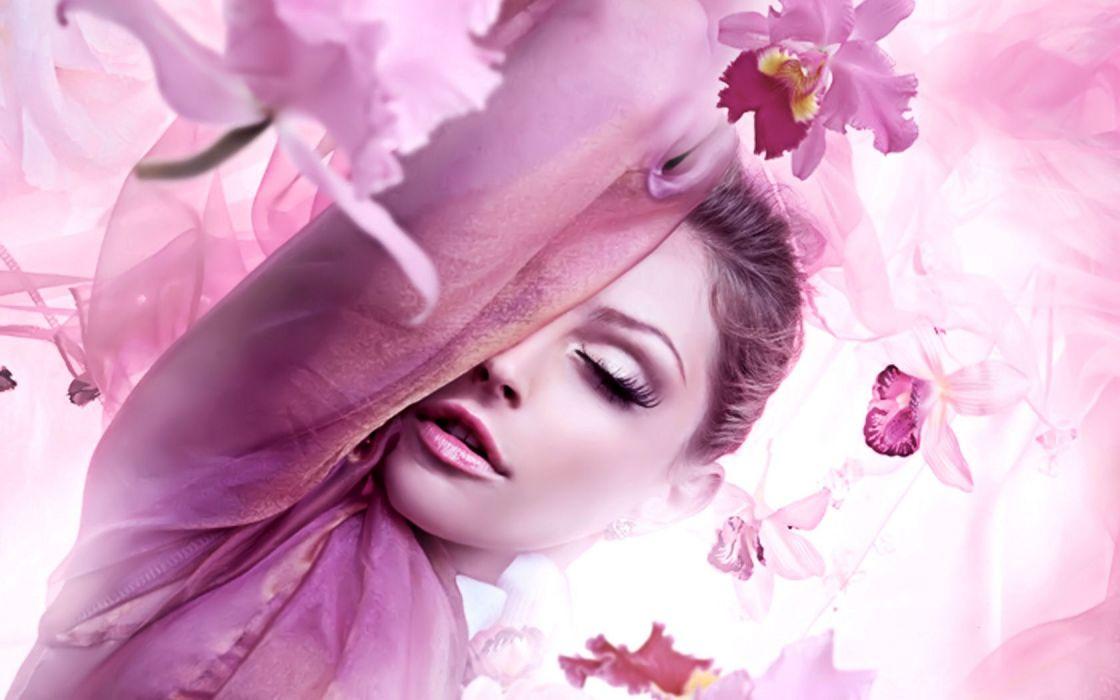 blondes women flowers purple faces wallpaper