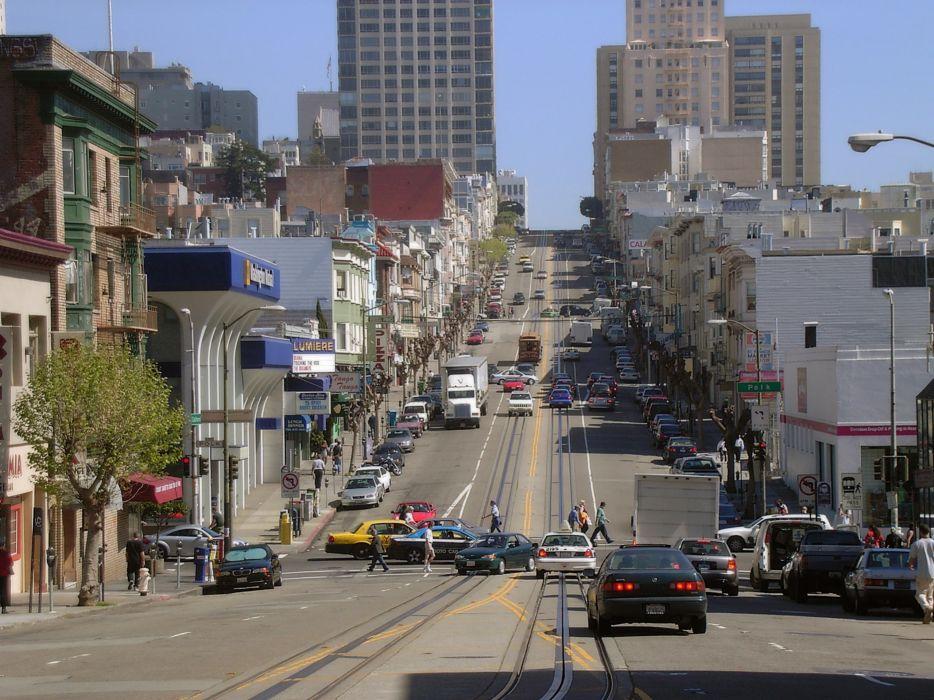 cityscapes traffic San Francisco wallpaper
