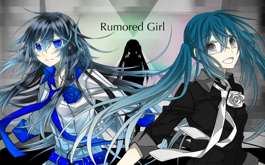 women Vocaloid flowers Hatsune Miku blue eyes silhouettes long hair blue hair alternate twintails characters gray eyes gray hair wallpaper