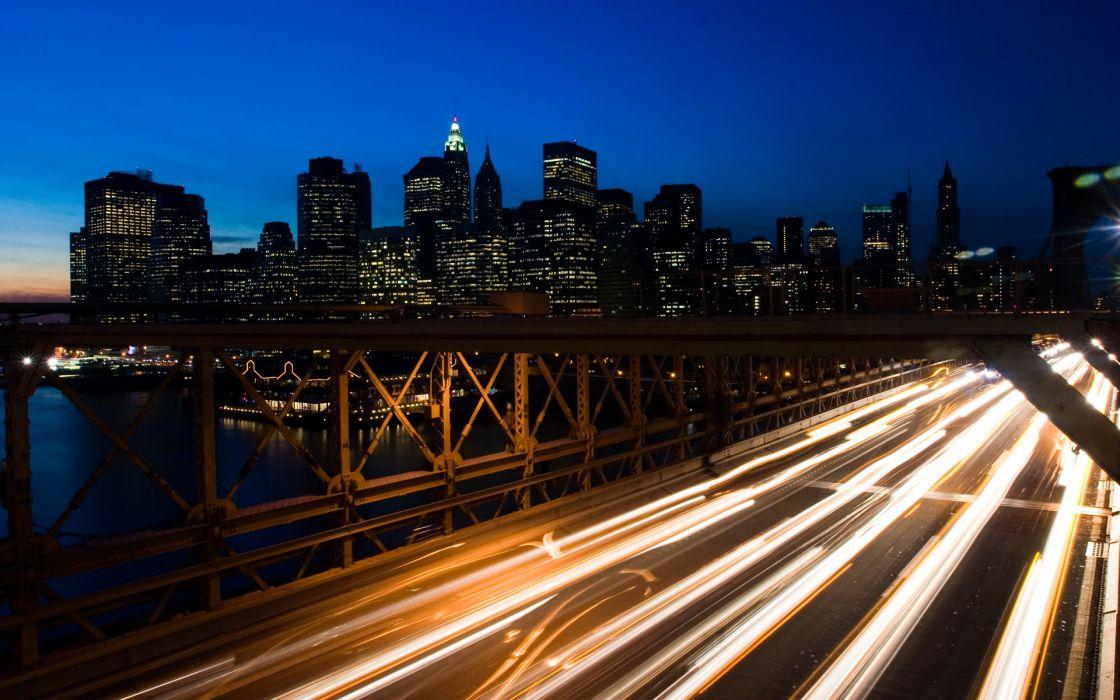 lights bridges buildings New York City Manhattan skyscrapers long exposure wallpaper