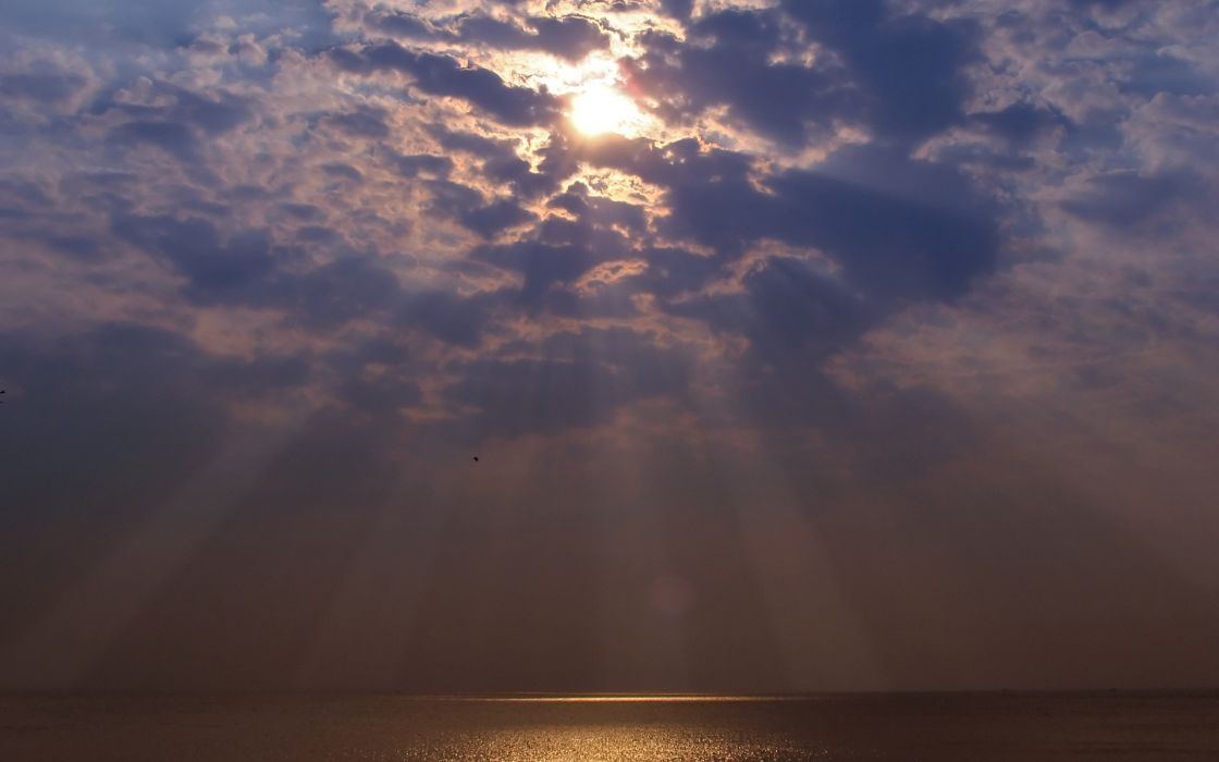 clouds Sun skyscapes reflections sea wallpaper