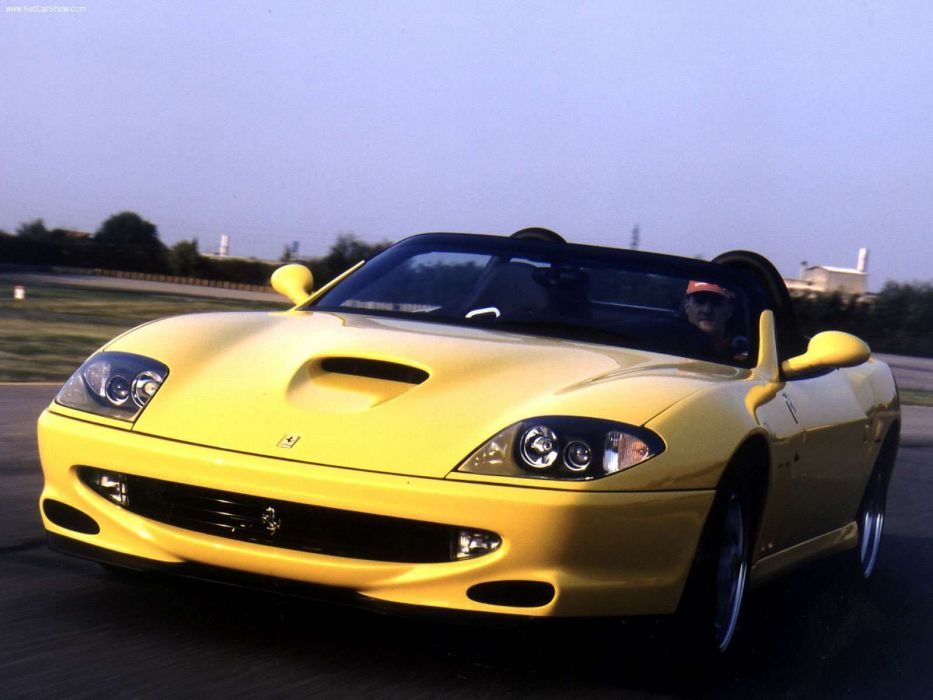 cars Ferrari vehicles sports cars yellow cars Ferrari 550 Barchetta automobiles front angle view wallpaper
