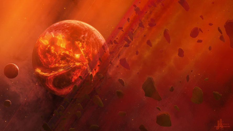 outer space red planets digital art science fiction wallpaper