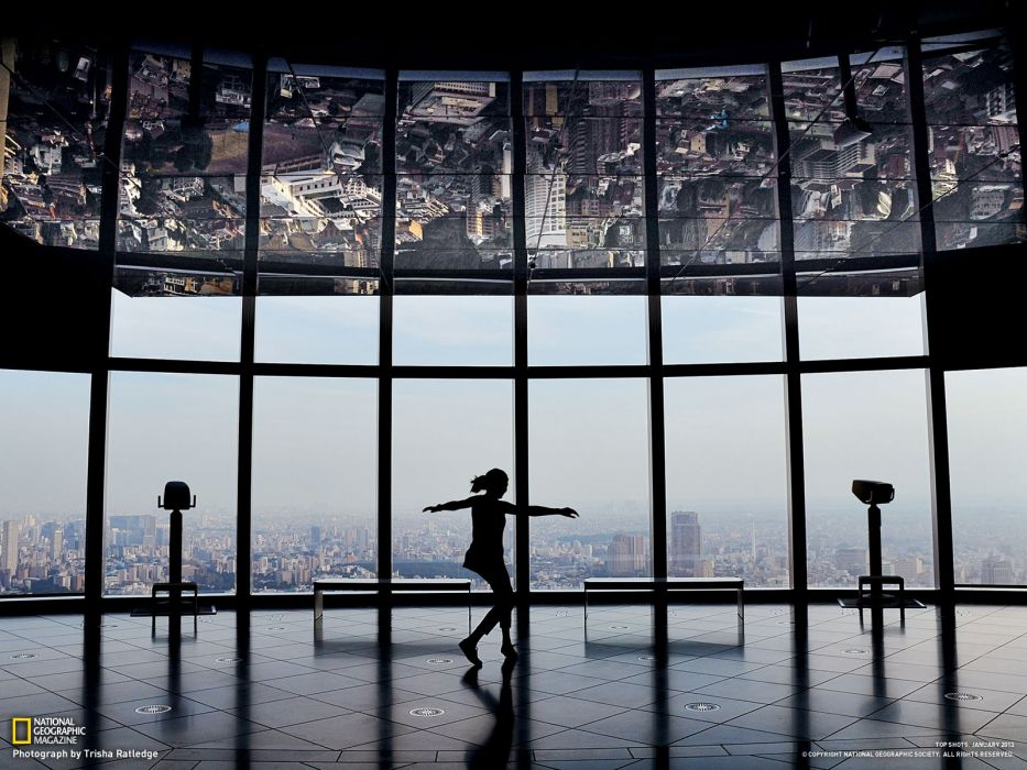 Tokyo tower silhouettes National Geographic window panes wallpaper