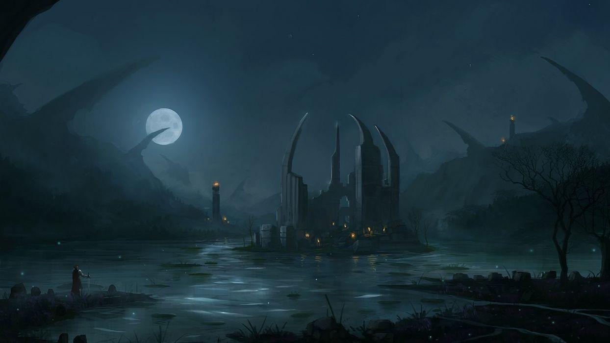 night stars knights Moon fantasy art artwork wallpaper