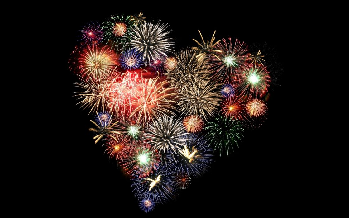 fireworks hearts wallpaper
