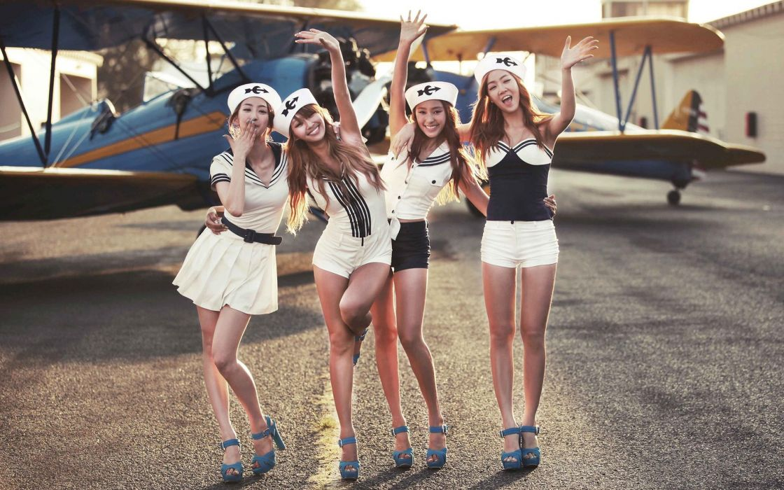 women aircraft Asians Korean K-Pop aviation Sistar dressed Soyou Hyorin bora Dasom wallpaper