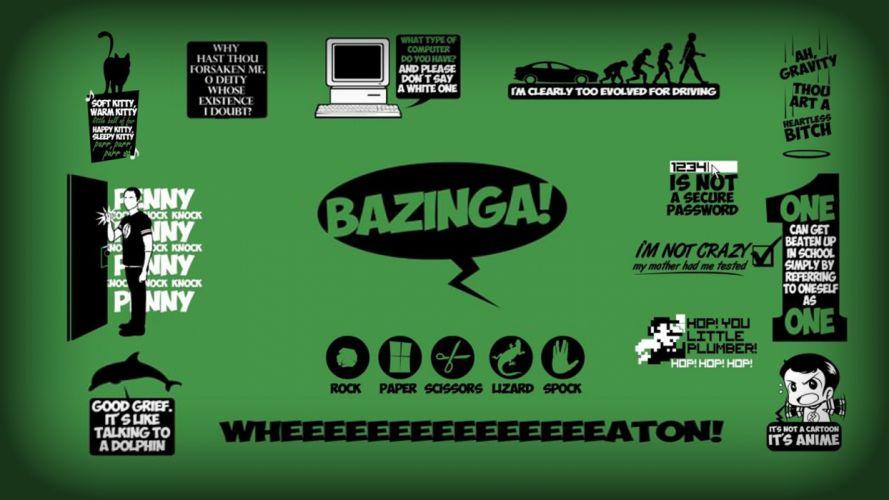 minimalistic quotes The Big Bang Theory (TV) bazinga Sheldon Cooper green background Leonard Hofstadter Howard Wolowitz Rajesh Ramayan Koothrappali wallpaper