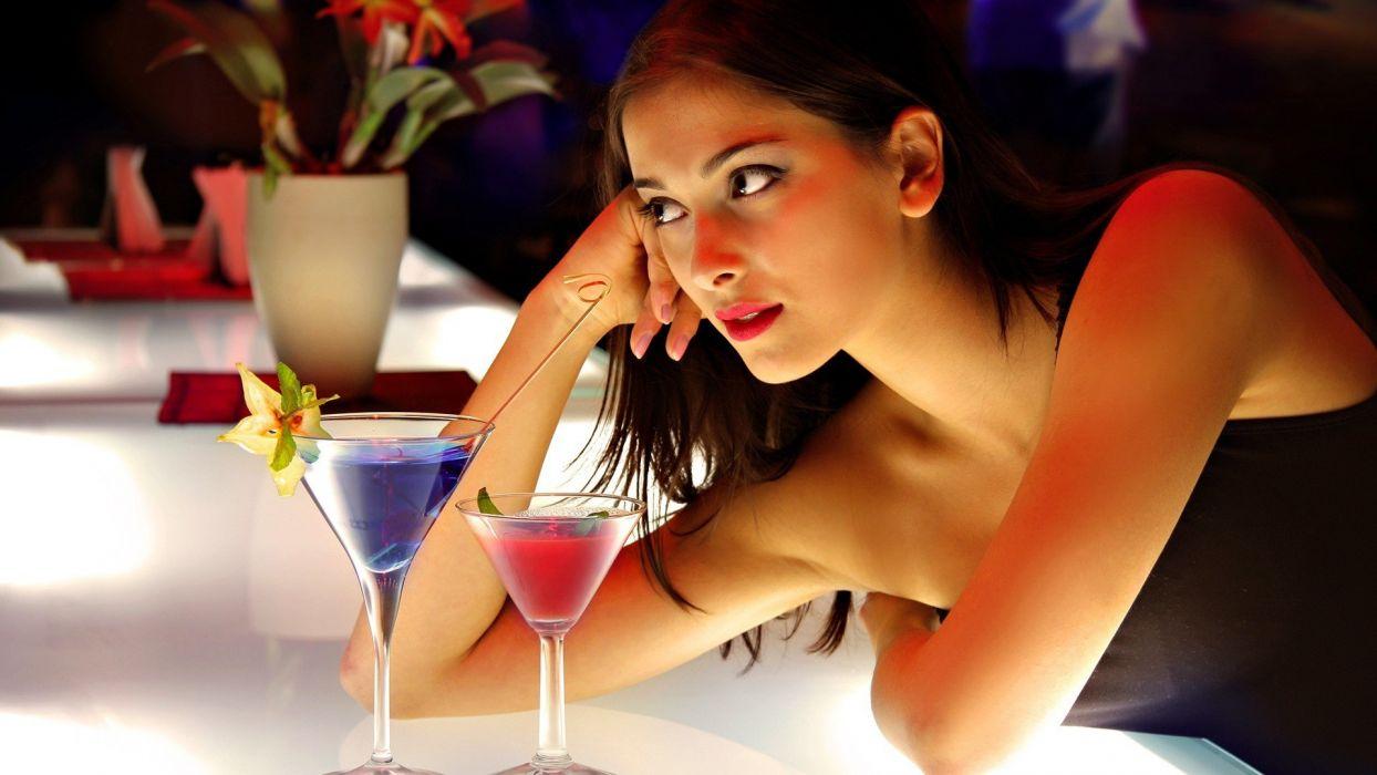 brunettes women models cocktail black dress leaning on elbows wallpaper