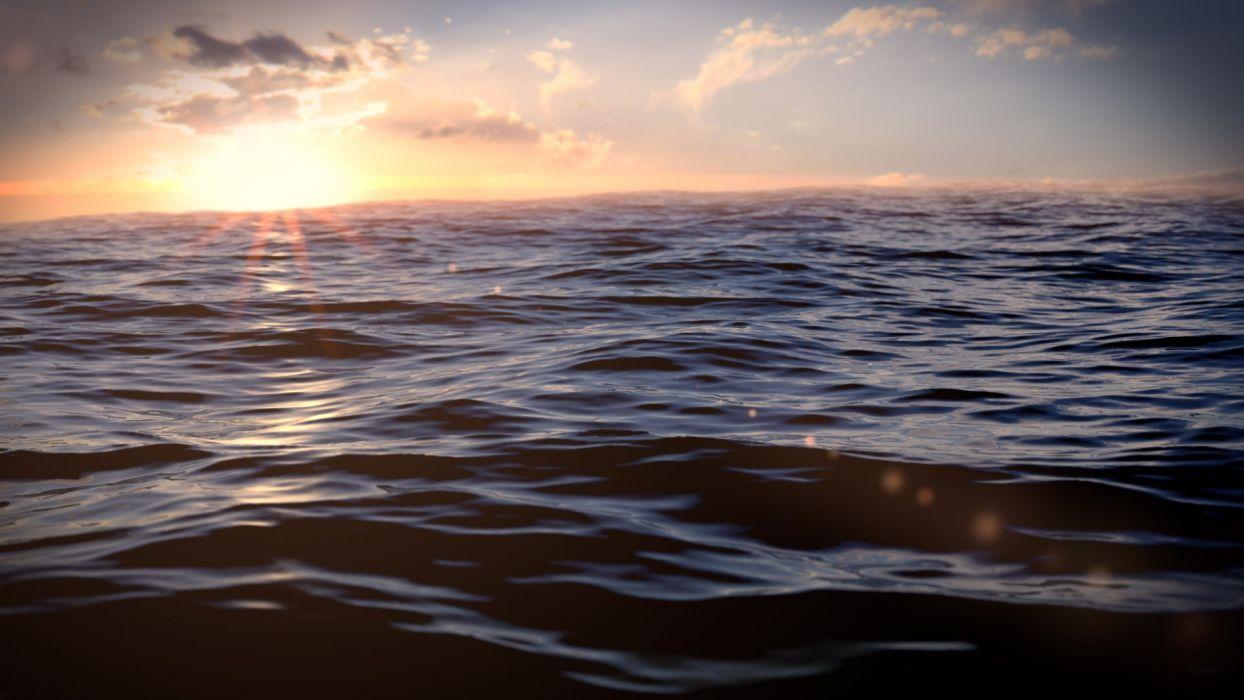 sunset ocean sea wallpaper