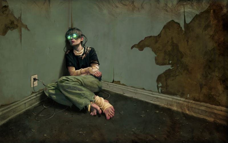 future technology lonely cyber reality artwork Virtual wallpaper