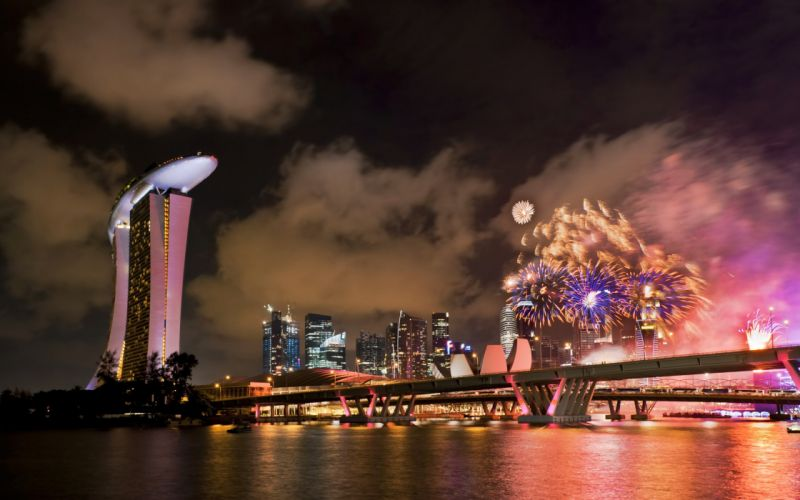 cityscapes night lights fireworks celebration colors wallpaper