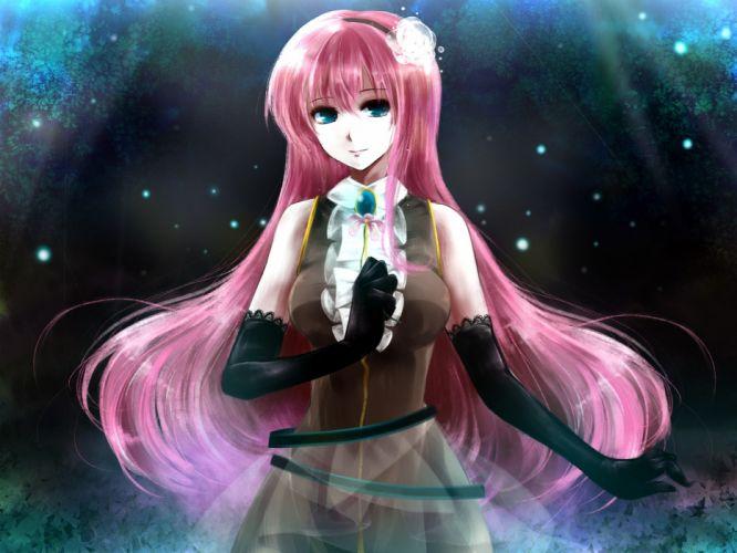 Vocaloid gloves blue eyes Megurine Luka pink hair anime girls wallpaper
