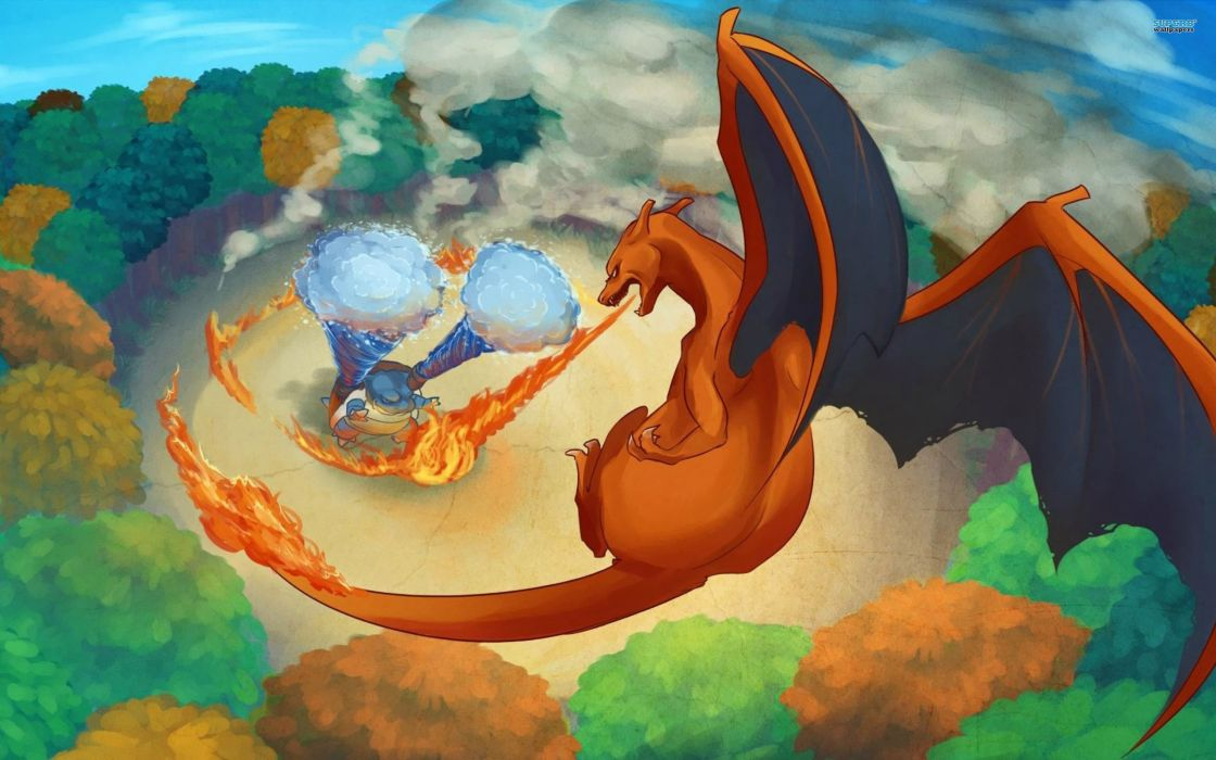 Pokemon Blastoise drawn Charizard wallpaper