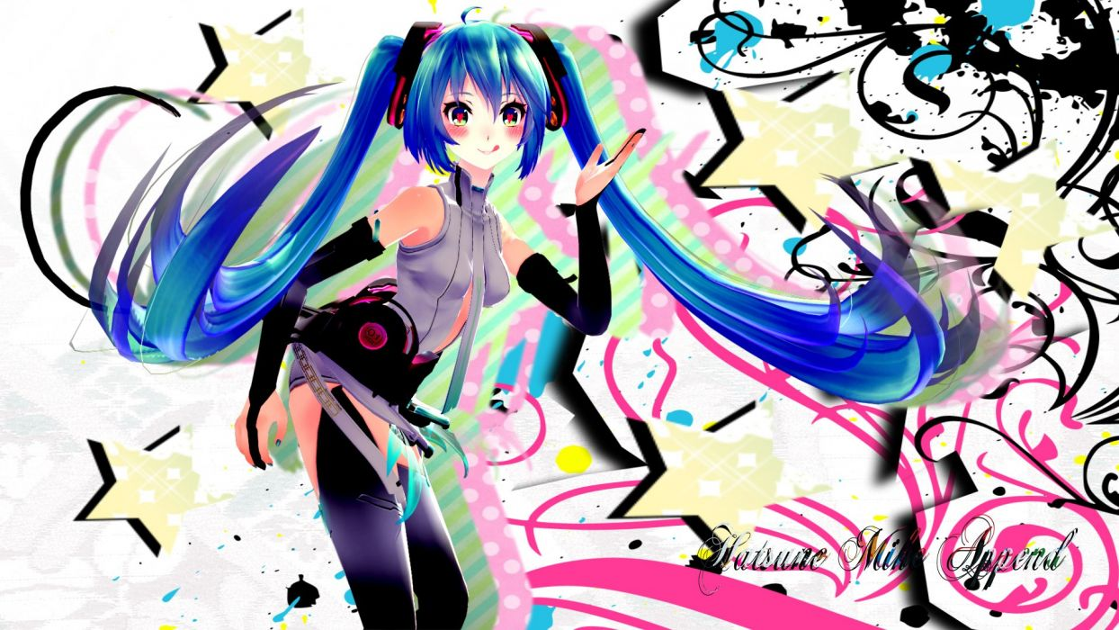 Vocaloid Hatsune Miku tie long hair blue hair tongue thigh highs twintails blush Miku Append Vocaloid Append detached sleeves wallpaper