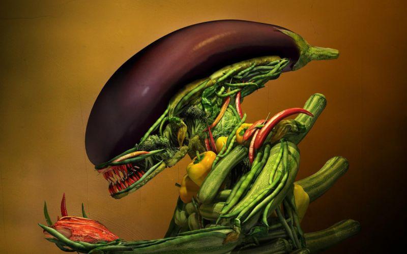 vegetables vegetable artwork Alien Aliens eggplants wallpaper