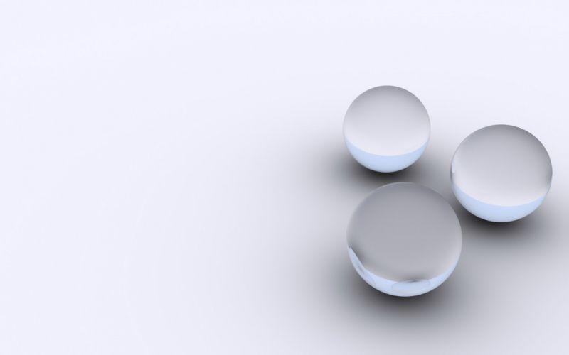 abstract minimalistic white balls silver wallpaper