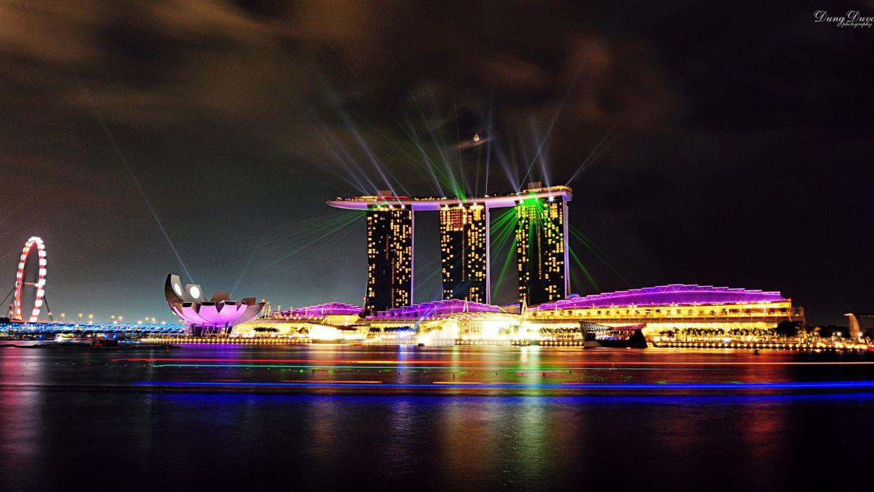 nature buildings Singapore cities wallpaper