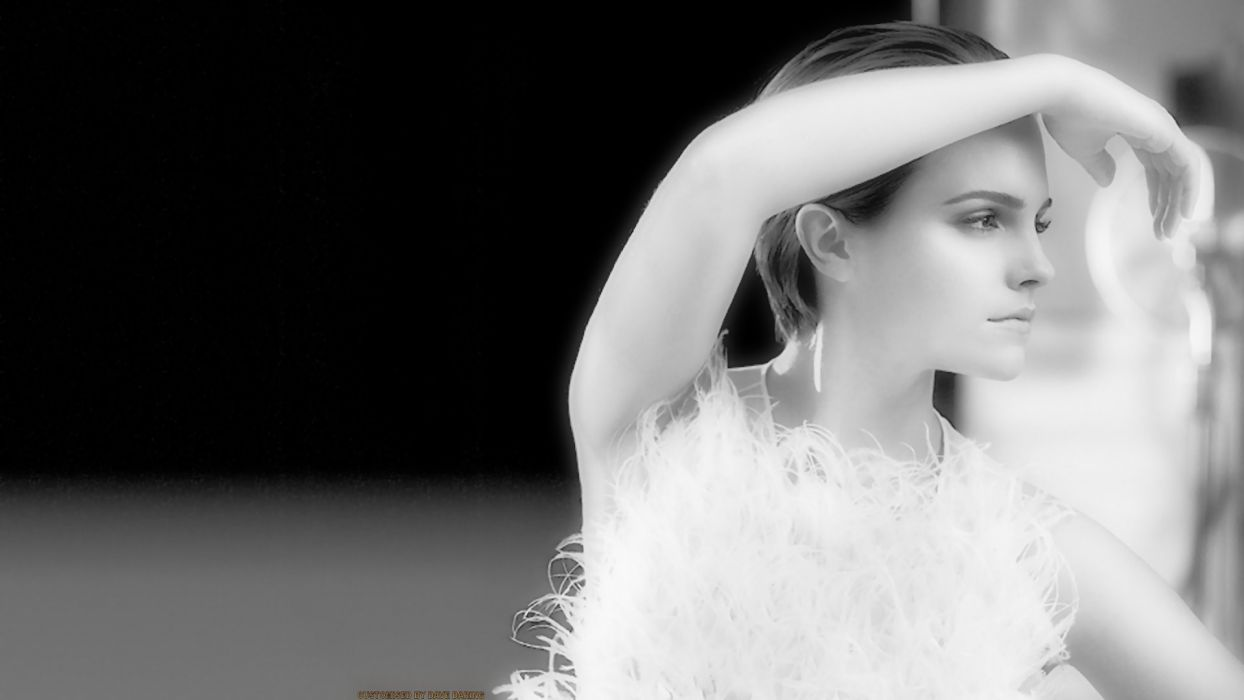 blondes women Emma Watson actress celebrity grayscale monochrome wallpaper