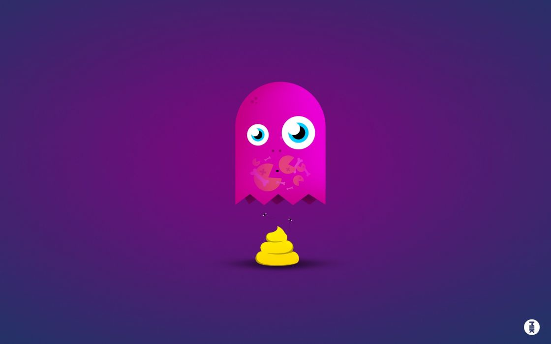video games funny ghosts Game Over Pac-Man poop blue background wallpaper