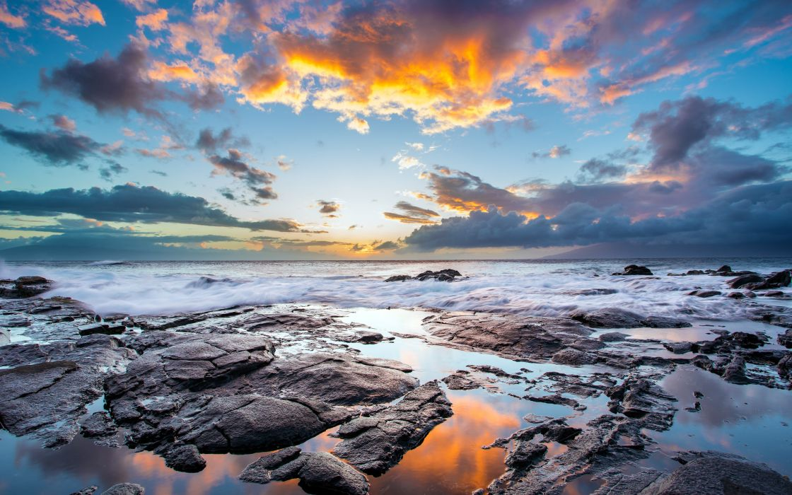sunset clouds landscapes nature coast waves rocks Hawaii USA HDR photography reflections sea wallpaper