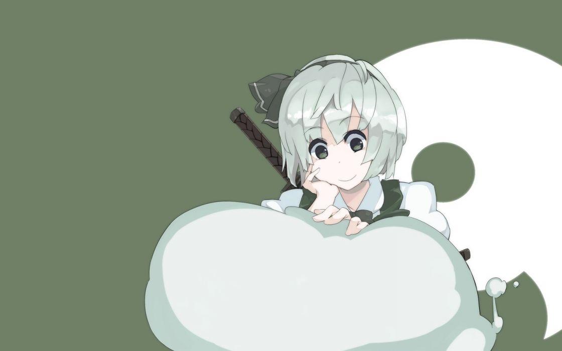 video games Touhou katana ribbons green eyes Konpaku Youmu smiling anime Konpaku Youki simple background anime girls wallpaper