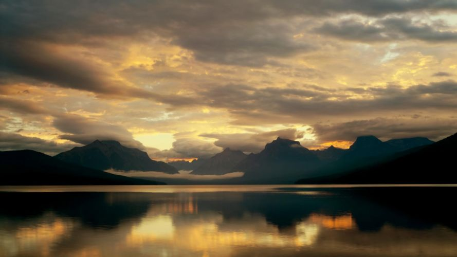 mountains clouds nature McDonald Lake Glacier National Park wallpaper