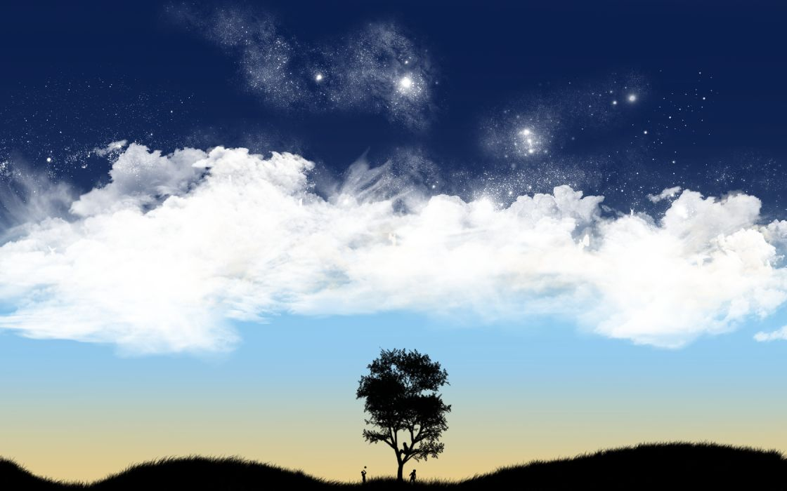 trees silhouettes skyscapes wallpaper