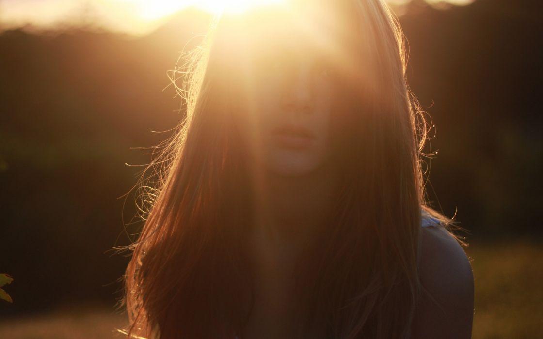 women long hair sunlight sun flare wallpaper