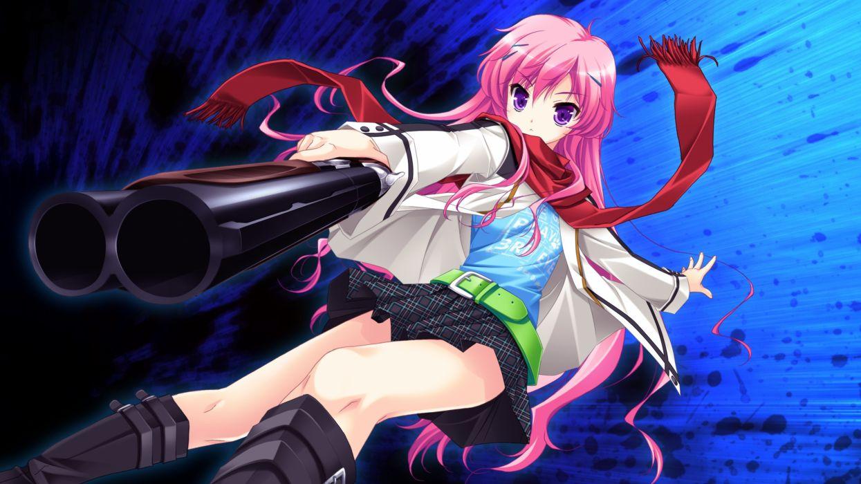guns skirts long hair shotguns weapons pink hair game CG Makita Maki scarfs purple eyes Shinigami no Testament Mukougaoka Kana wallpaper
