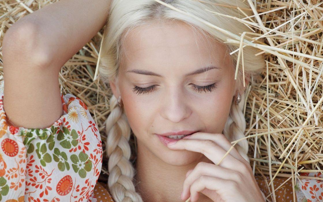 blondes women closed eyes faces Vika D wallpaper