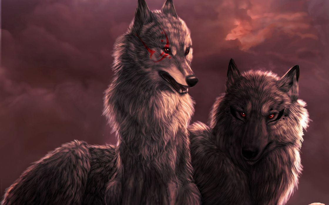 animals red eyes artwork wolves wallpaper
