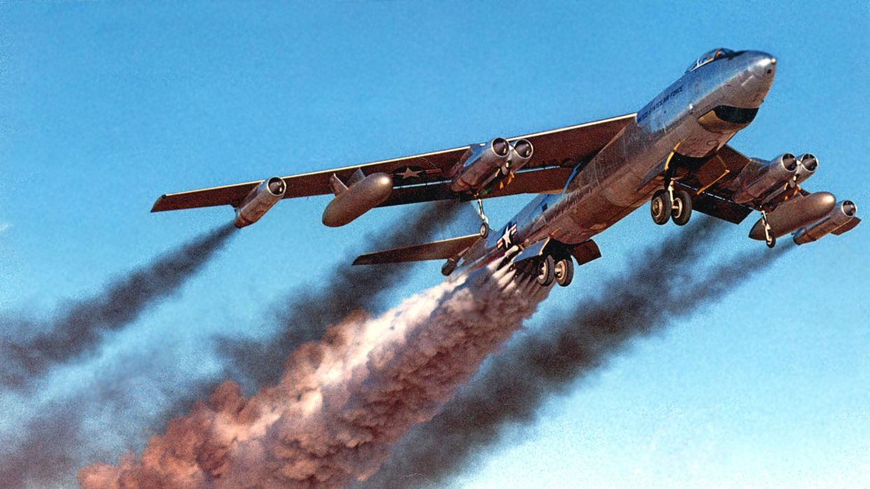 aircraft military bomber contrails B-47 Stratojet wallpaper