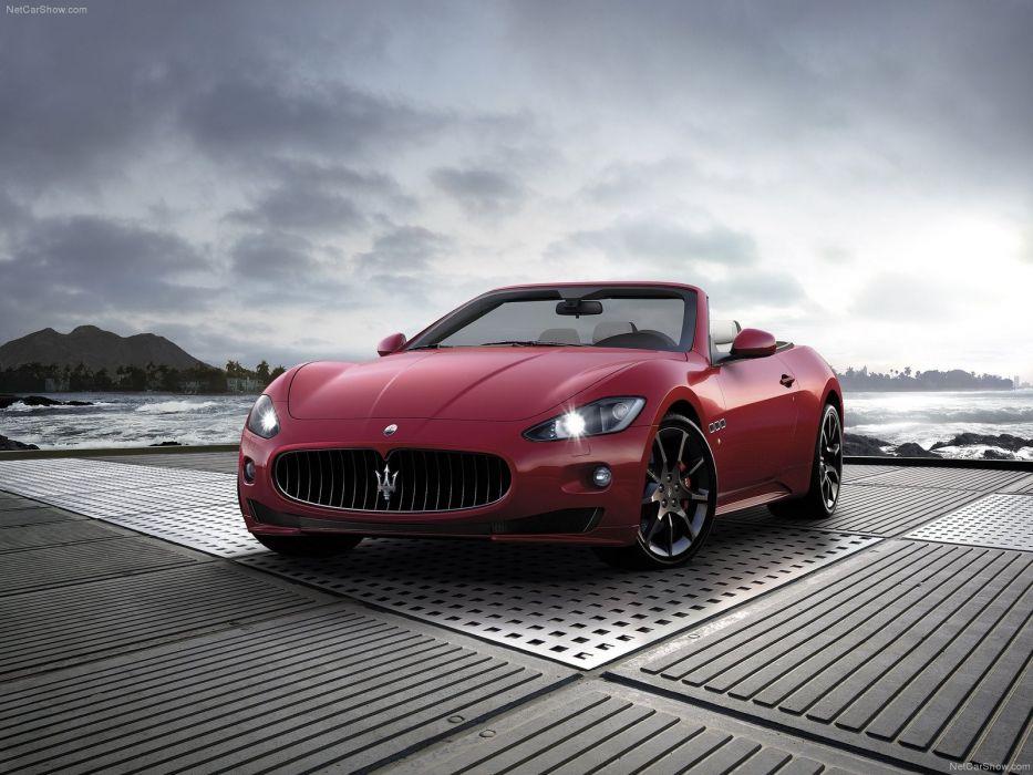 red cars vehicles Maserati GranCabrio wallpaper