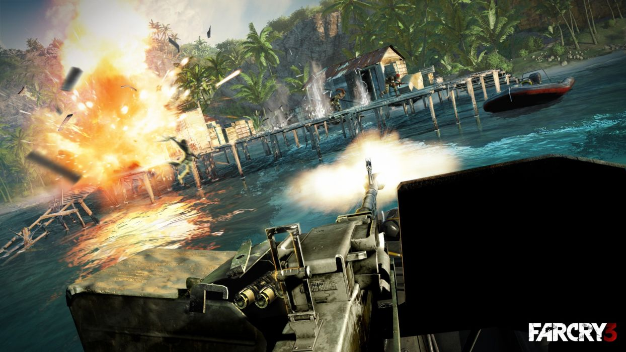 video games machine gun boats fps Far Cry 3 wallpaper