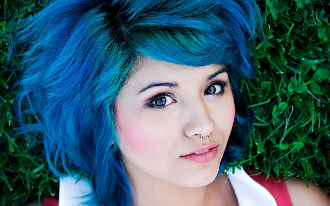 women grass blue hair piercings lying down faces wallpaper