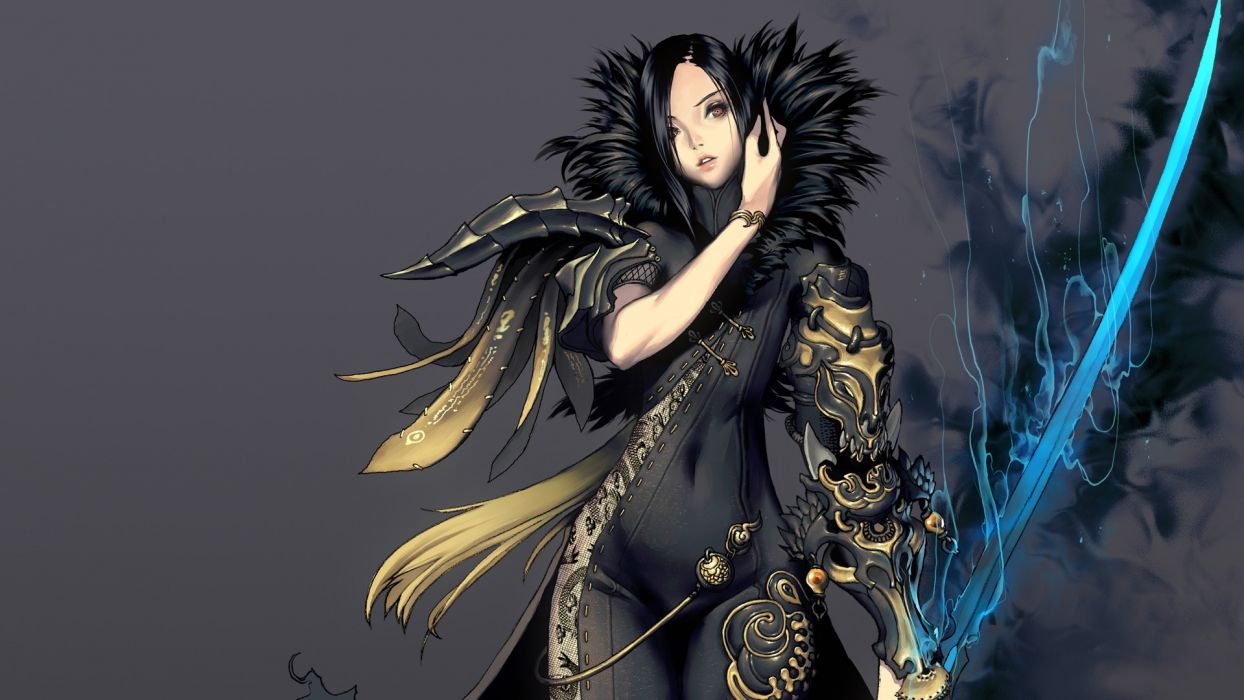 brunettes gray Hyung-tae Kim MMORPG orange eyes Blade and Soul swords wallpaper