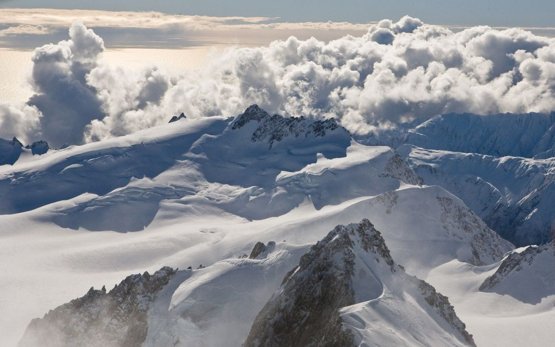 mountains clouds nature snow New Zealand wallpaper