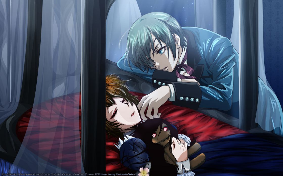 Kuroshitsuji Ciel Phantomhive stuffed animals sleeping anime anime boys anime girls wallpaper