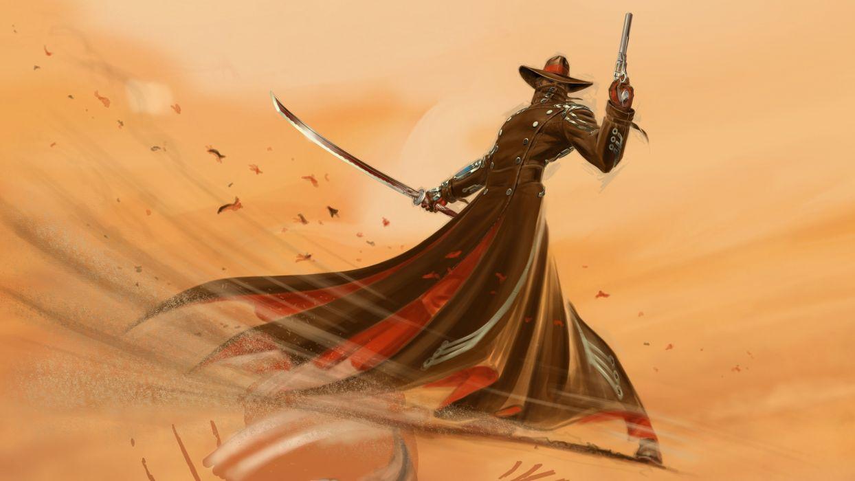 Nintendo video games Nintendo Wii blade artwork Red Steel 2 swords wallpaper