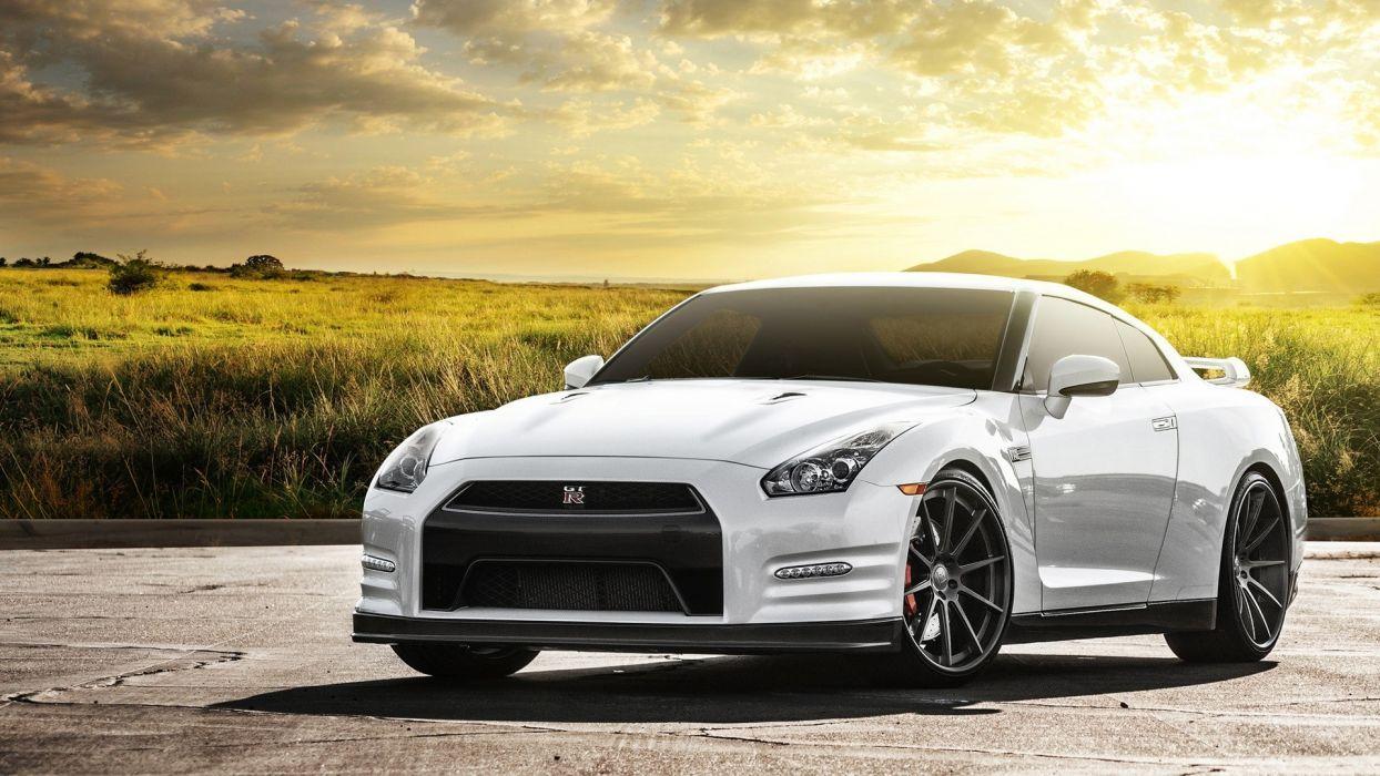 white cars sunlight Nissan GTR wallpaper
