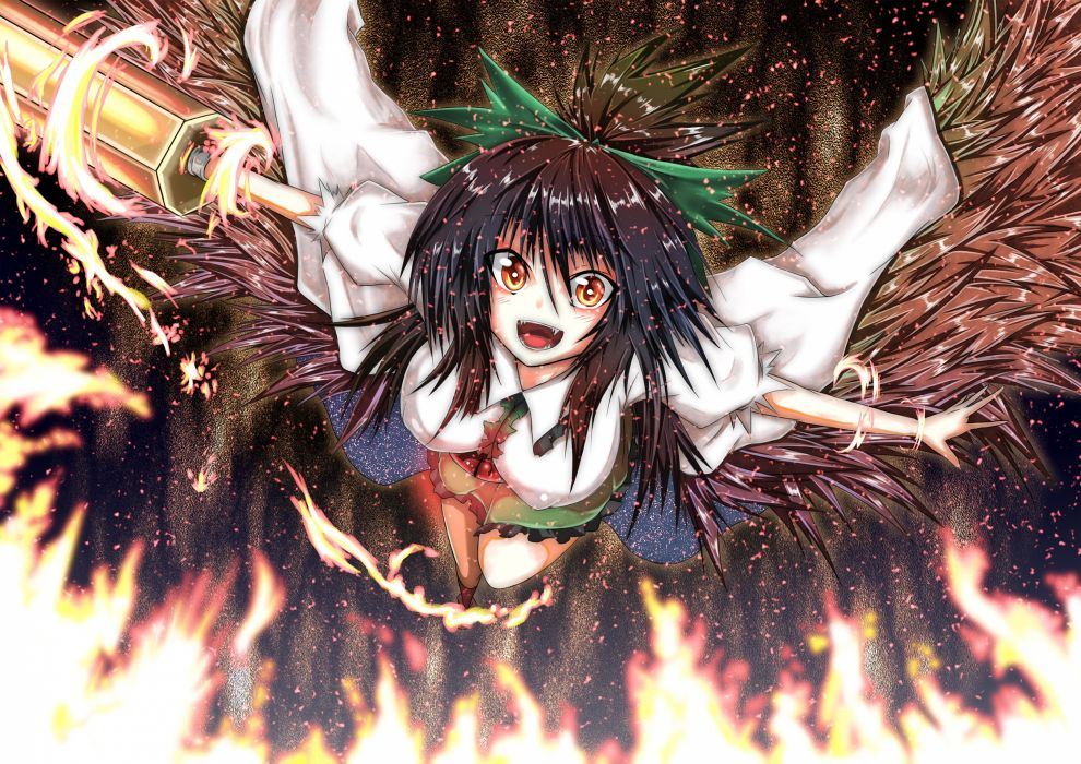 brunettes Touhou wings outer space flying fire skirts long hair weapons cannons bows capes fangs Reiuji Utsuho orange eyes wallpaper