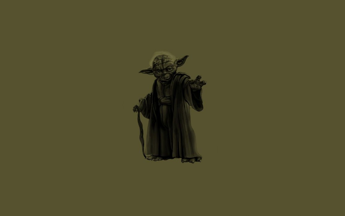 Star Wars minimalistic Jedi greed Yoda soup cane simple background dark green wallpaper