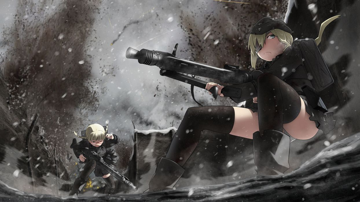 soldiers military soft shading anime girls original characters wallpaper