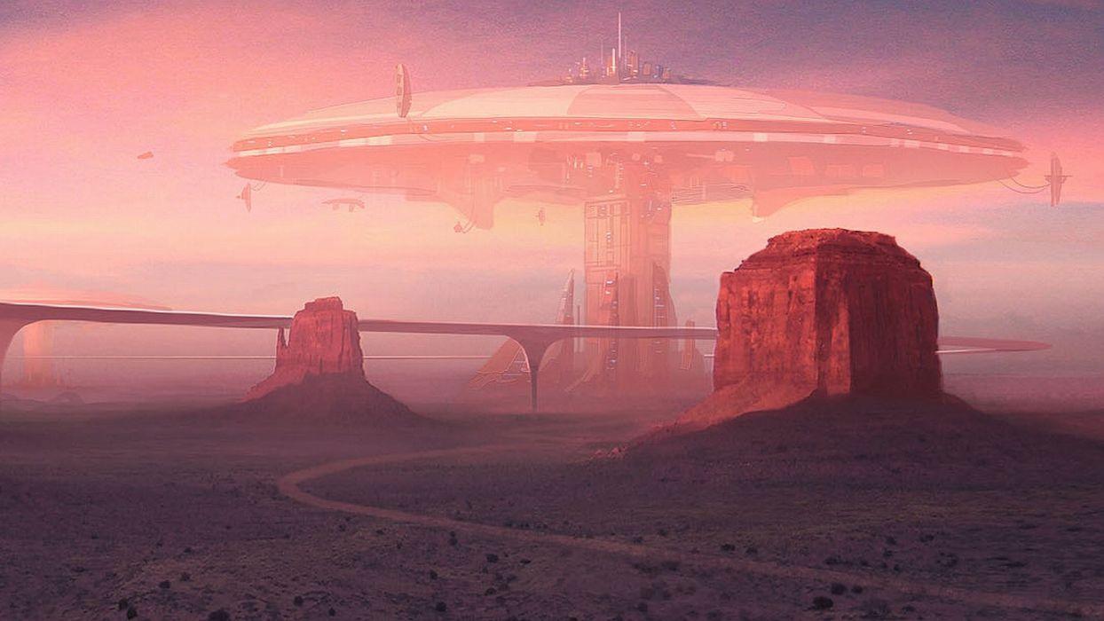 futuristic deserts fantasy art roads science fiction wallpaper