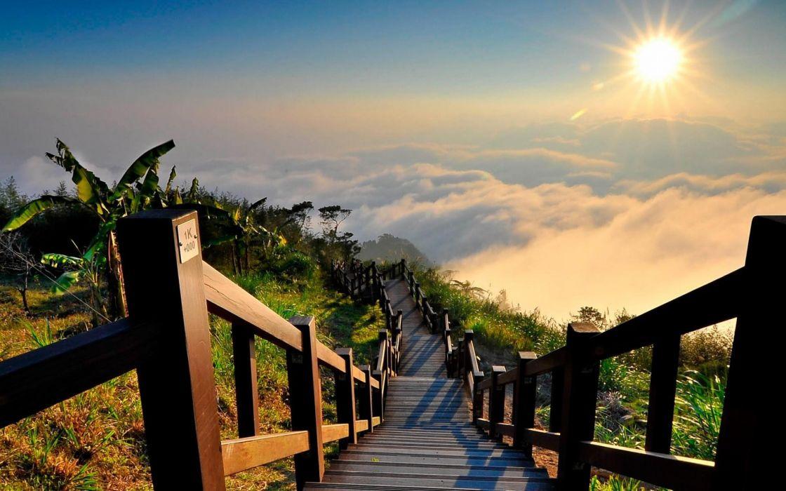 clouds landscapes nature Sun wallpaper