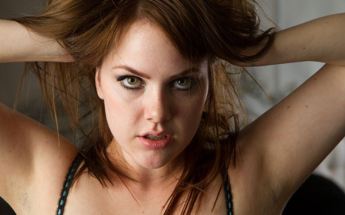 women redheads Faye green eyes wallpaper