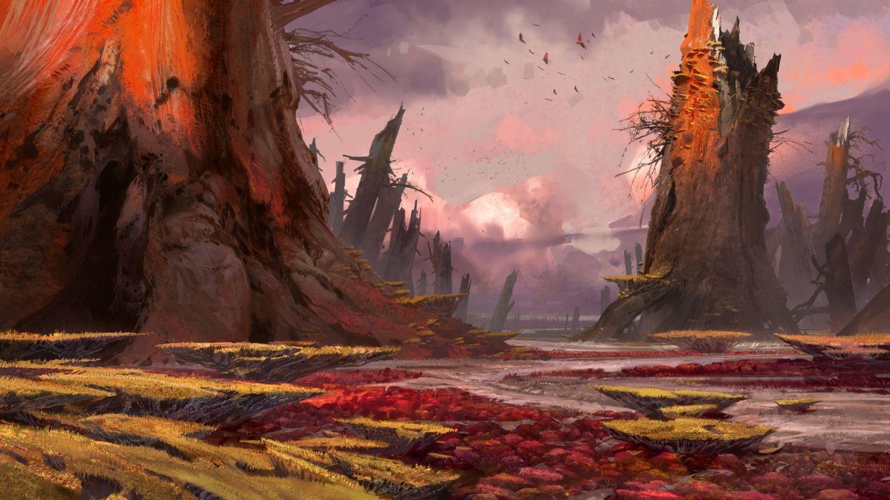 landscapes birds concept art artwork Bungie Destiny (video game) wallpaper
