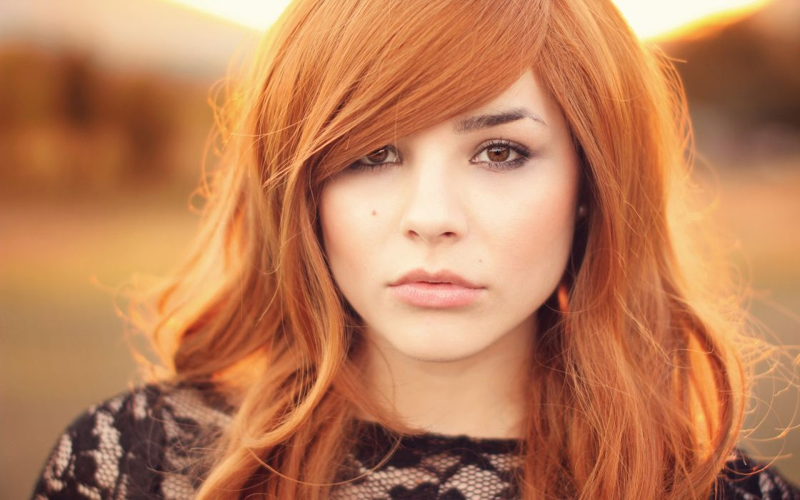 women redheads brown eyes faces wallpaper